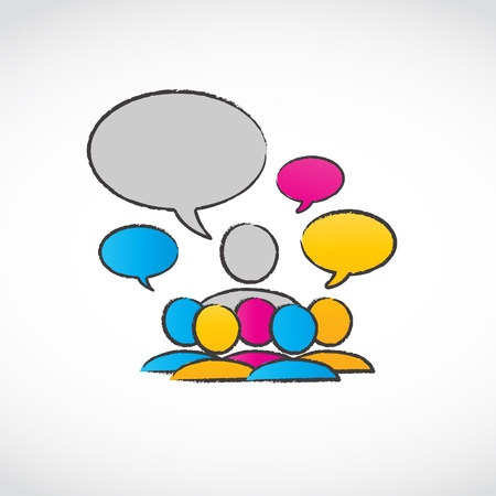lecturing: abstract speaker with speech ballons Illustration