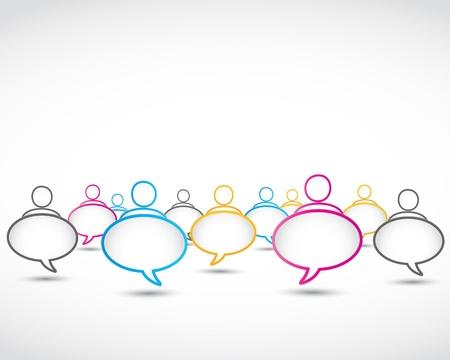 communication occupation: astratto, social media discorso disegno Vettoriali