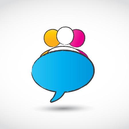 forums: chat balloon logo Illustration