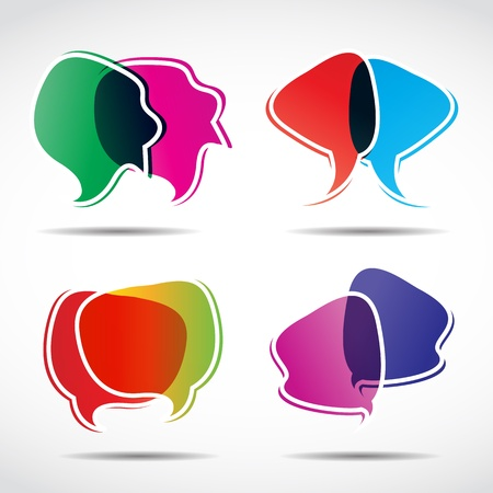 advertising text: abstract speech bubbles