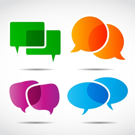 social media speech bubble set Vector