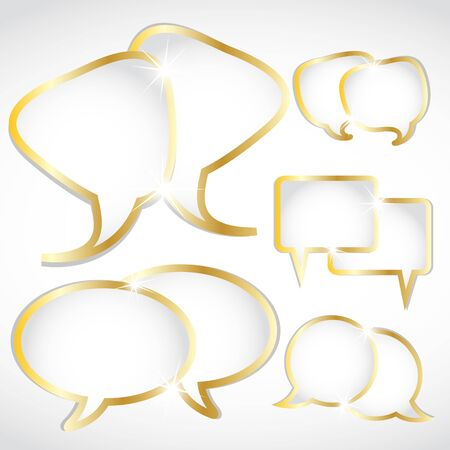 shiny gold speech bubbles set Vector