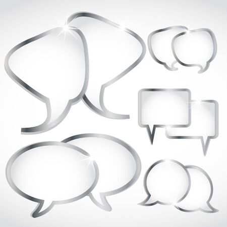 silver speech bubbles set Vector