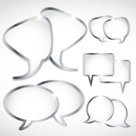 silver speech bubbles set Stock Vector - 15745913