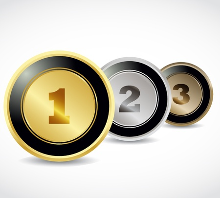 Shiny 1st, 2nd and 3rd buttons Vector