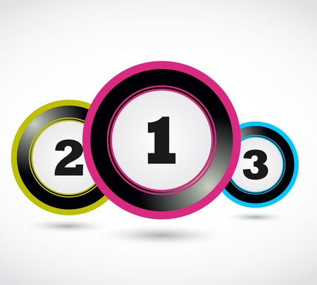 colorful numbers buttons,1 2 3 Vector