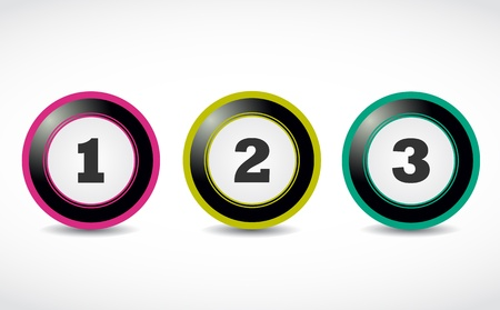 One two three numbers buttons Vector