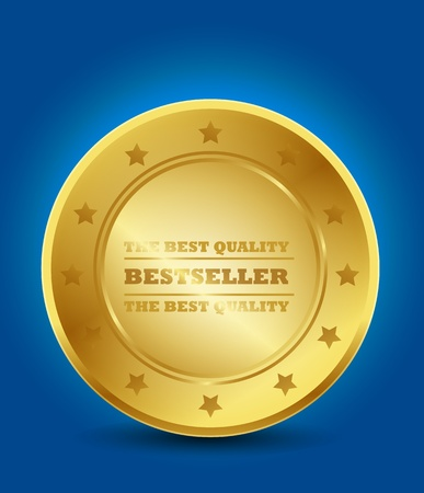 Golden Bestseller Label Vector