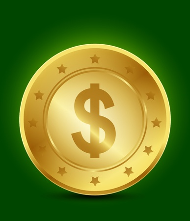 golden dollar symbol Vector