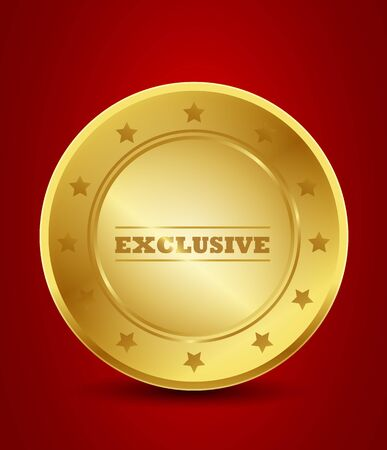 golden exclusive seal Vector