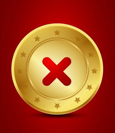 golden no check mark Stock Vector - 15746003