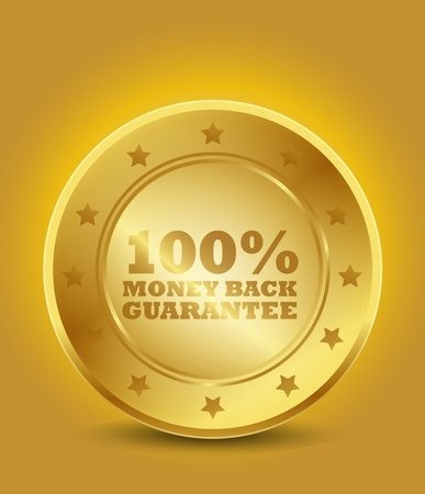 Golden 100  Money Back Guarantee Vector
