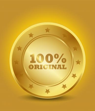 gouden 100 originele zegel Vector Illustratie