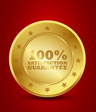 100  Satisfaction Guarantee Golden Seal Vector