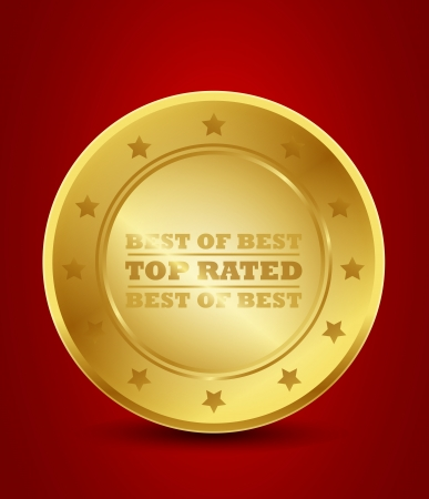 golden top rated badge Vector
