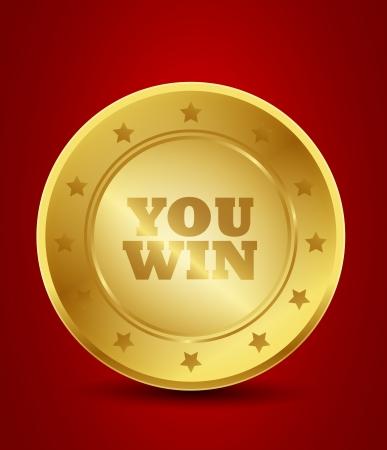 ganar: usted gana medalla Vectores