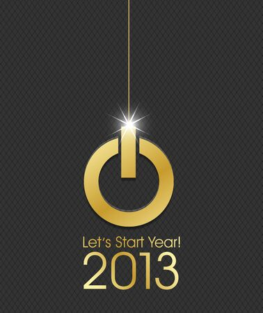 2013 golden power button christmas ball Vector