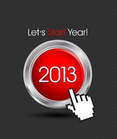 Happy New Year 2013 Button Vector