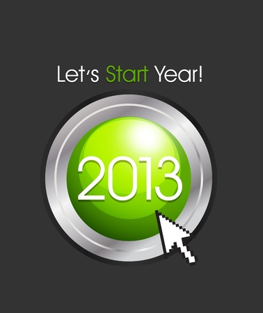 2013 New Year Button Vector