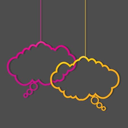 social media neon color speech bubbles Vector