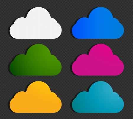 cloud clipart: abstract colorful cloud labels
