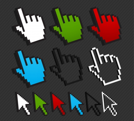 colorful cursor set internet concept Vector