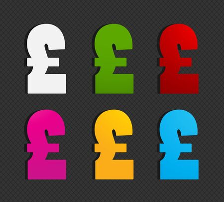 colorful british pound icons Stock Vector - 16024218