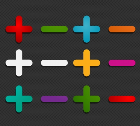 colorful plus minus labels Vector