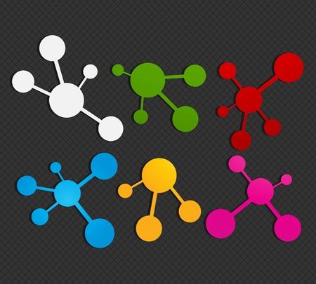 colorful molecule icon set Stock Vector - 16024257