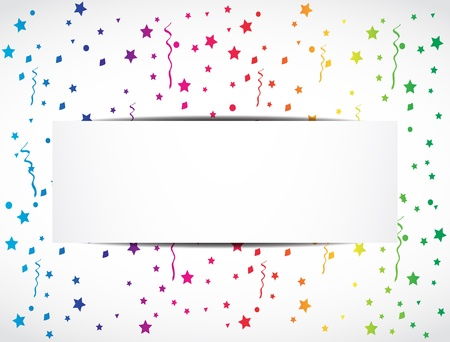 falling star: rainbow confetti festive banner Illustration
