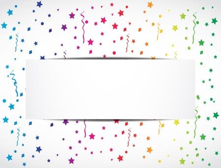 rainbow confetti festive banner Vector Illustration
