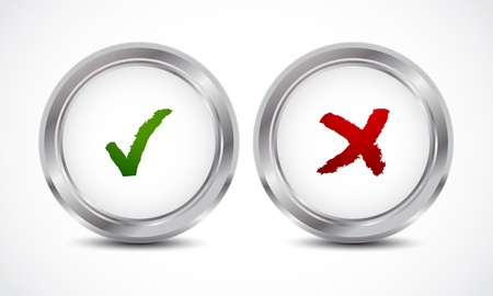 yes no check mark buttons Vector