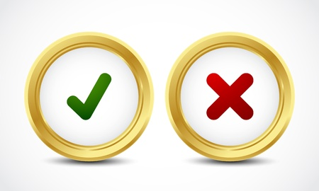 check mark yes and no buttons Stock Vector - 16024403