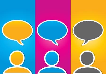 coloré concept sociale supports de communication Vecteurs