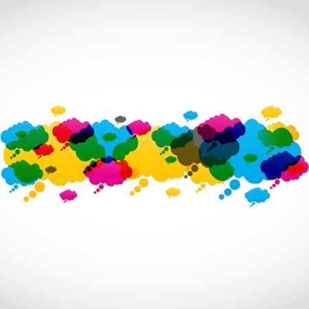 мысль: абстрактные красочные иллюстрации речи пузыри