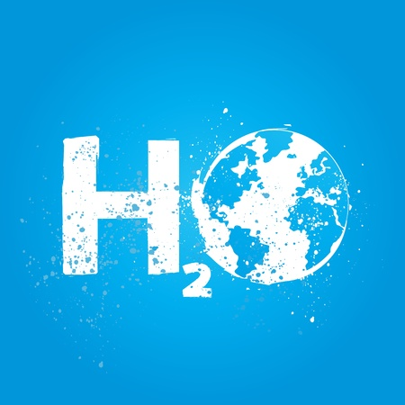 h2o: water h2o world ecology concept Illustration