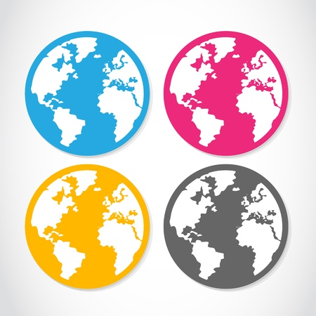 set of colorful globe stickers Stock Vector - 16307503