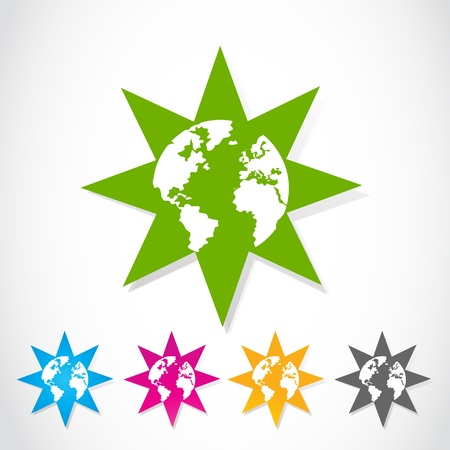 Set of colorful vector globe stars stickers Vector