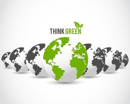 wereldbol groen: denk groene bol concept van Stock Illustratie