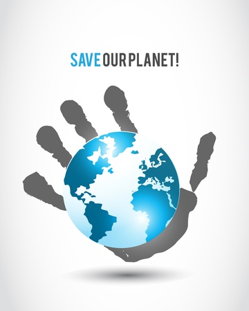 protect globe: world in hand symbol