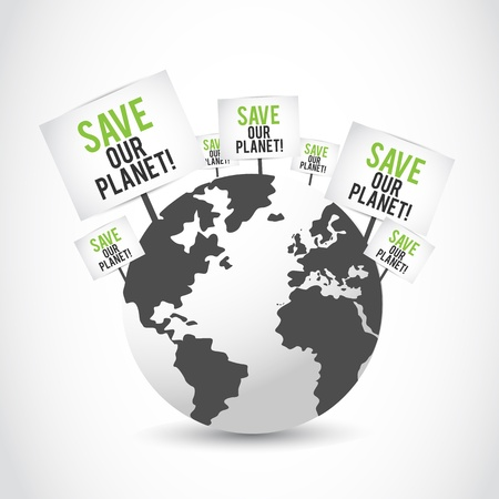 save our planet banners on earth design Stock Vector - 16307532