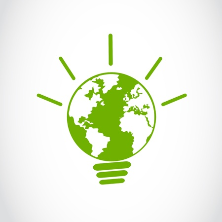 eco global energy light bulb sign Stock Vector - 16307491
