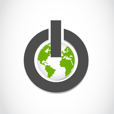 go green icons: world power button Illustration