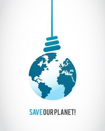 planet earth lamp bulb Stock Vector - 16307518