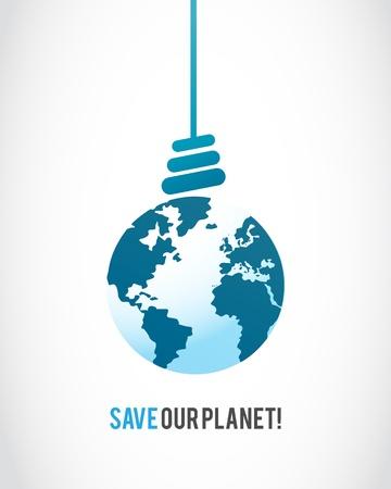 planet earth lamp bulb Stock Vector - 16307518