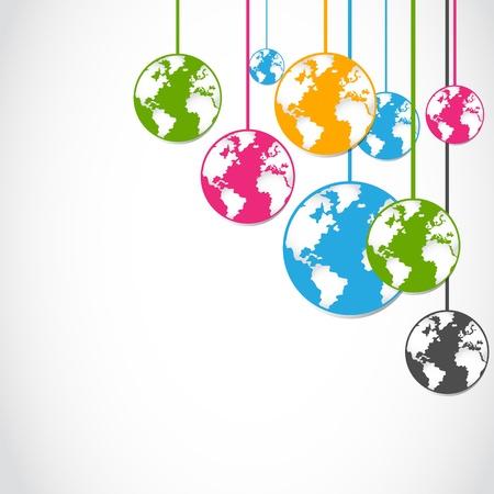 planeta verde: abstractas coloridas pegatinas globo