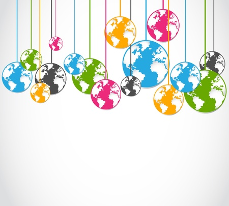 abstract colorful world globes background Vector