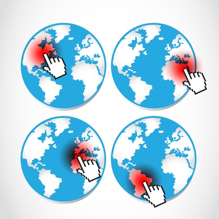 stop global warming: set of pointing global disasters Illustration