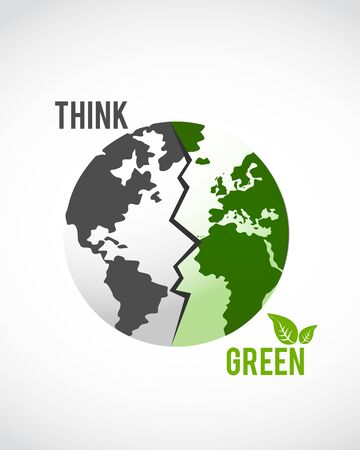 save planet: think green globe Illustration