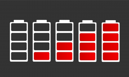 cell charger: different battery charge level icons Illustration